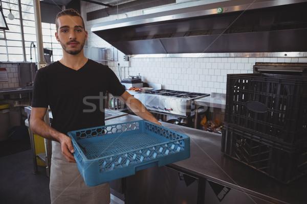 Portré pincér tart kék láda konyha Stock fotó © wavebreak_media