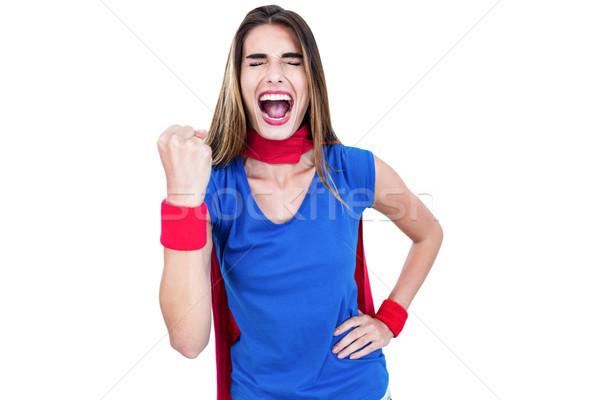 Nő szuperhős jelmez kiált fehér női Stock fotó © wavebreak_media