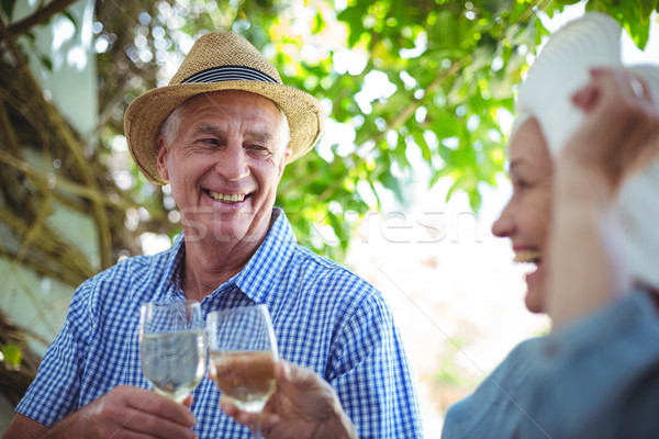 Couple wearing hats while toasting white wine  Stock photo © wavebreak_media