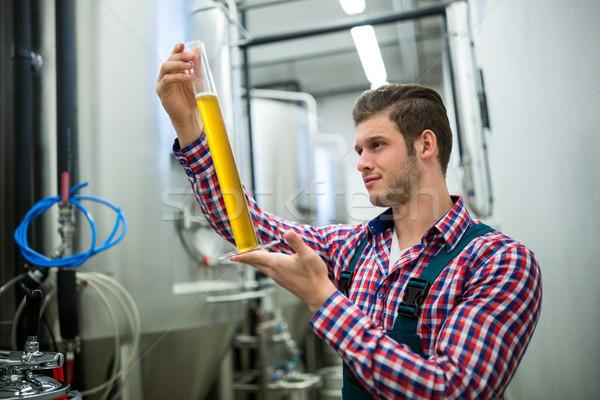 Test bira bira fabrikası fabrika adam sanayi Stok fotoğraf © wavebreak_media