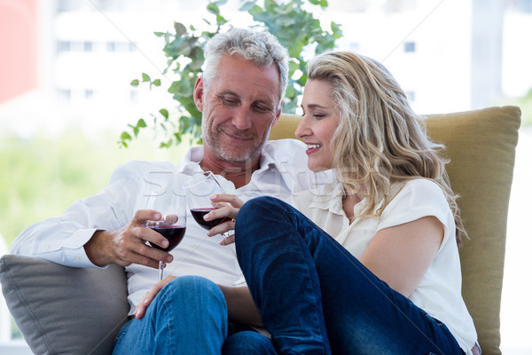Smiling mature couple toasting red wine at home Stock photo © wavebreak_media