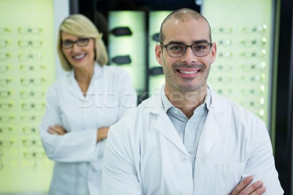 улыбаясь Постоянный портрет оптический магазине Сток-фото © wavebreak_media