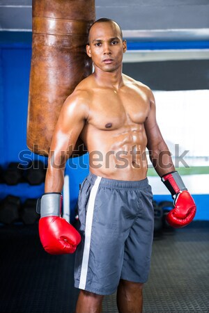 Erkek boksör ayakta portre spor salonu Stok fotoğraf © wavebreak_media