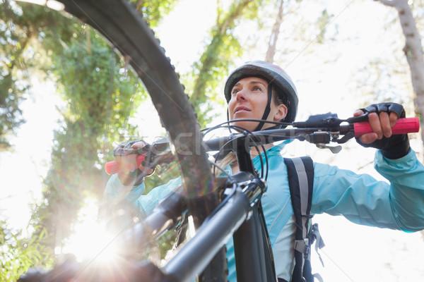 Stock fotó: Női · hegy · motoros · lovaglás · bicikli · erdő