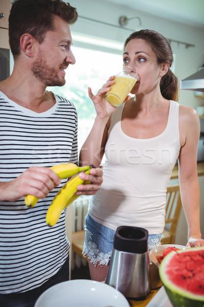 カップル バナナ 飲料 スムージー キッチン ストックフォト © wavebreak_media