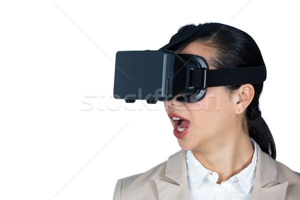 Empresária virtual realidade fone branco diversão Foto stock © wavebreak_media