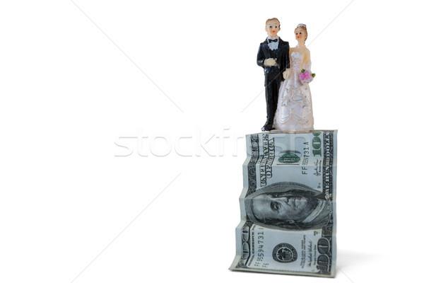 Wedding couple figurines on US dollar banknote Stock photo © wavebreak_media