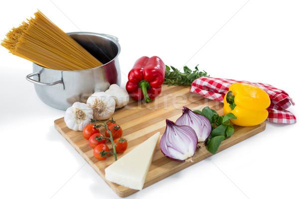 Zöldségek tészta konténer sajt főzés törődés Stock fotó © wavebreak_media