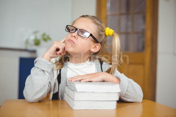 Cute séance bureau classe fille Photo stock © wavebreak_media