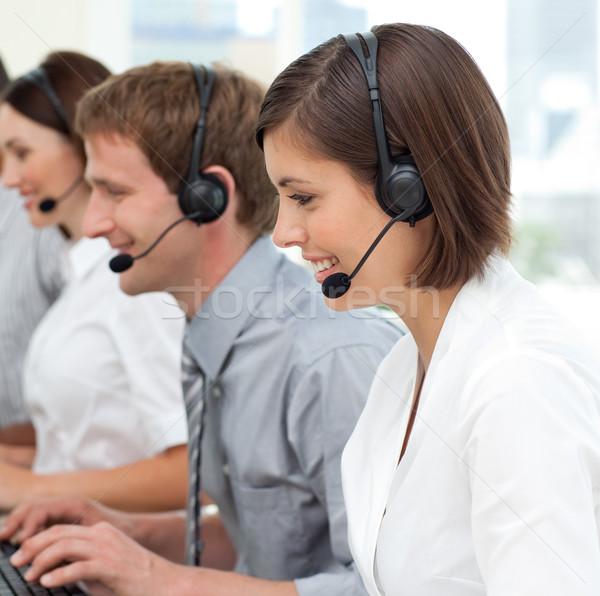 Business internazionale squadra auricolare lavoro call center computer Foto d'archivio © wavebreak_media