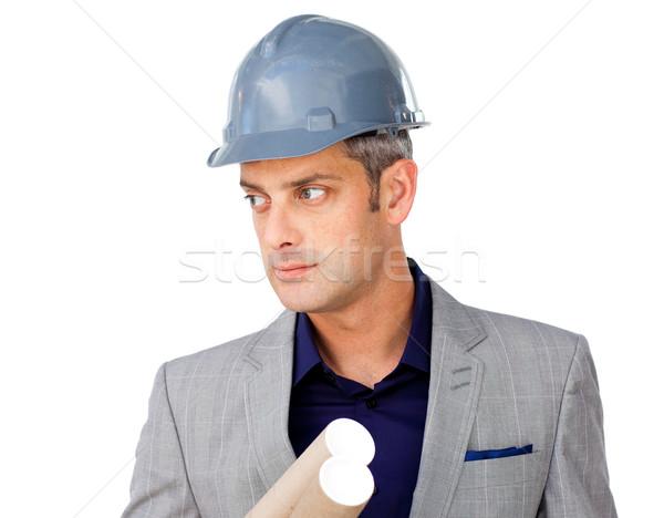Komoly férfi építész visel munkavédelmi sisak fehér Stock fotó © wavebreak_media
