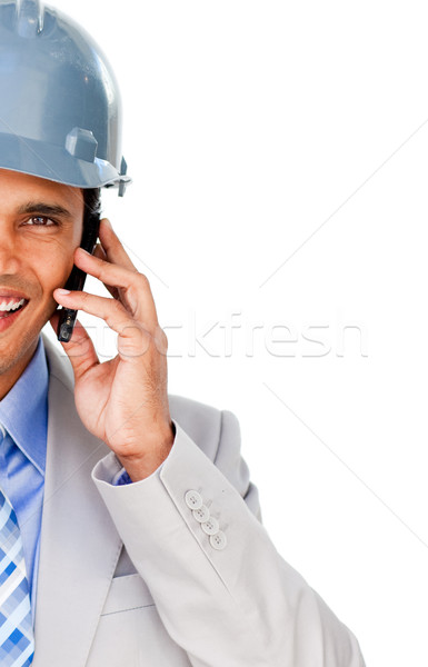 Close-up of an architect with a hardhat on phone Stock photo © wavebreak_media