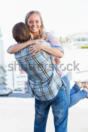 優しい 父 ピギーバック 男 幸せ ストックフォト © wavebreak_media