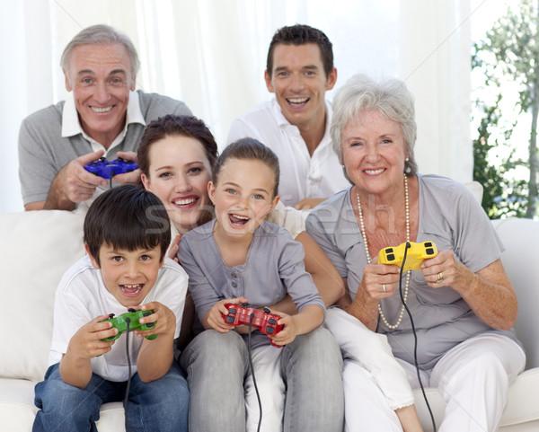 Familie spelen video games grootouders ouders Stockfoto © wavebreak_media