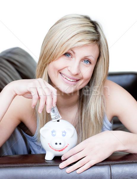 Encantado mulher branco espaço diversão Foto stock © wavebreak_media