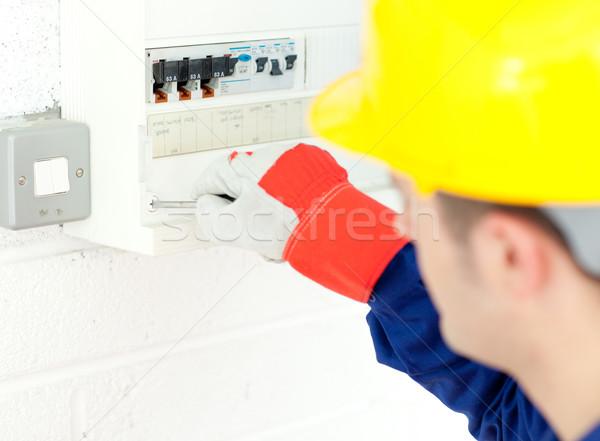 Volwassen elektricien macht plan werk Stockfoto © wavebreak_media