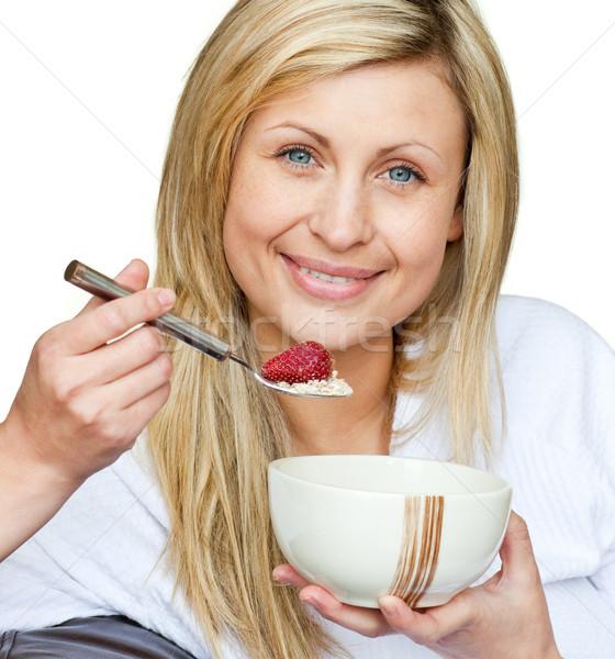 Portret cute vrouw gezond eten voedsel witte Stockfoto © wavebreak_media