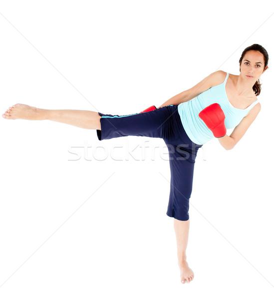 女性 着用 ボクシンググローブ キック 白 ストックフォト © wavebreak_media