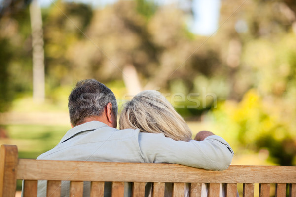 Anziani Coppia seduta panchina indietro Foto d'archivio © wavebreak_media