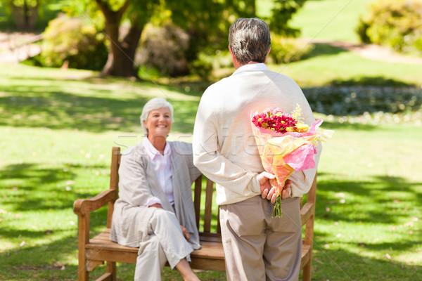 Aposentados homem oferta flores esposa flor Foto stock © wavebreak_media
