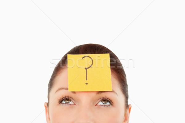 Fiatal nő kérdés címke homlok fehér menedzser Stock fotó © wavebreak_media