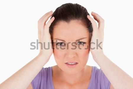 Portrait bonne recherche femme maux de tête permanent blanche Photo stock © wavebreak_media