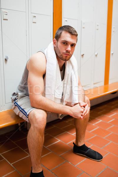 портрет молодые спортивных студент сидят скамейке Сток-фото © wavebreak_media