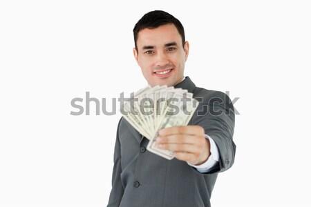 Stok fotoğraf: Gülen · işadamı · banka · notlar · beyaz
