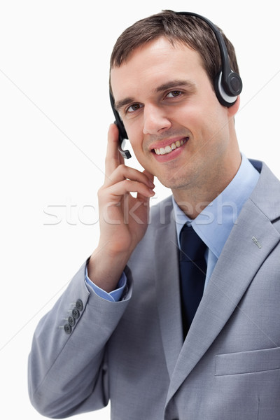 Empresário fone branco negócio sorrir contato Foto stock © wavebreak_media