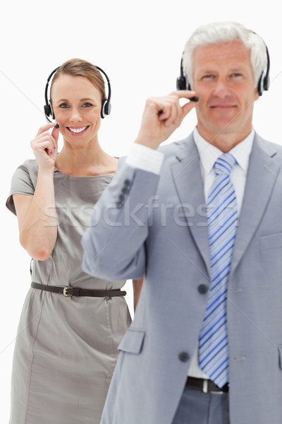 Gülümseyen kadın kulaklık beyaz saçlı adam Stok fotoğraf © wavebreak_media