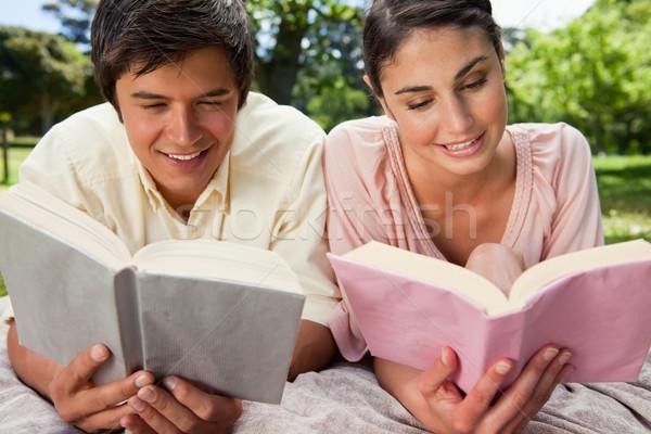 Nő férfi mosolyog olvas szürke pléd Stock fotó © wavebreak_media