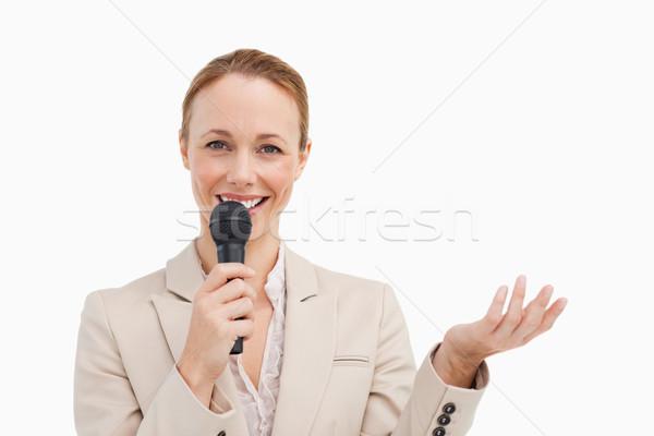 肖像 女性実業家 マイク 白 幸せ ストックフォト © wavebreak_media