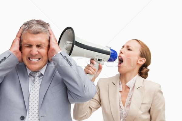 деловая женщина кричали мегафон коллега белый стороны Сток-фото © wavebreak_media