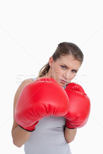 Portré nő box fehér kéz piros Stock fotó © wavebreak_media