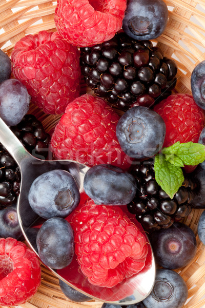 Berries eating in a basket in a high angle view Stock photo © wavebreak_media