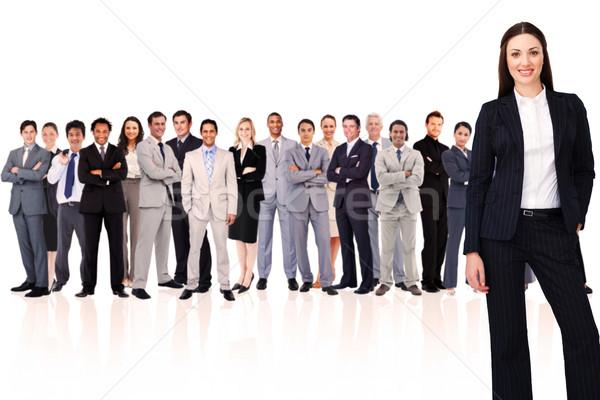 Foto stock: Mujer · de · negocios · sonriendo · blanco · feliz · gente · de · negocios · equipo
