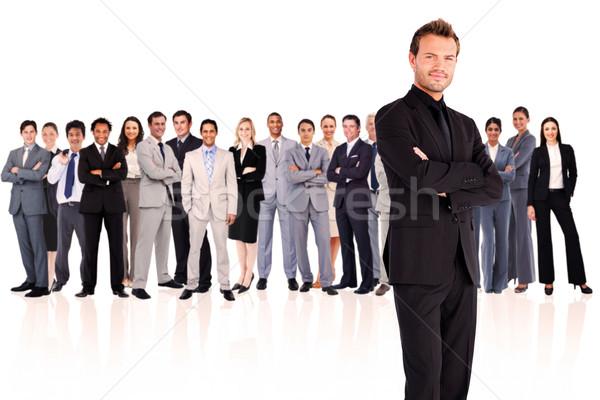 Foto stock: Grave · empresario · armas · blanco · gente · de · negocios · equipo