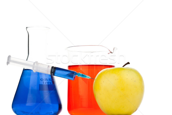 Seringue pomme blanche fruits verre médecine Photo stock © wavebreak_media