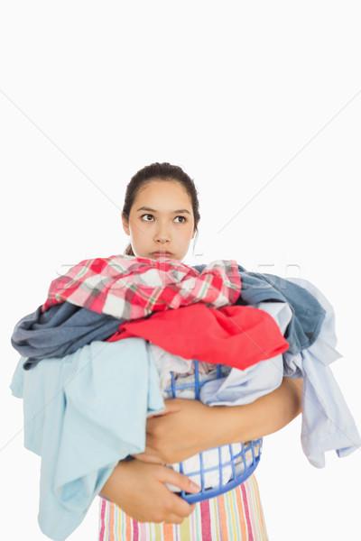 Donna completo cestino di lavanderia triste femminile Foto d'archivio © wavebreak_media