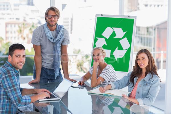 Equipo reunión reciclaje brillante oficina ordenador Foto stock © wavebreak_media