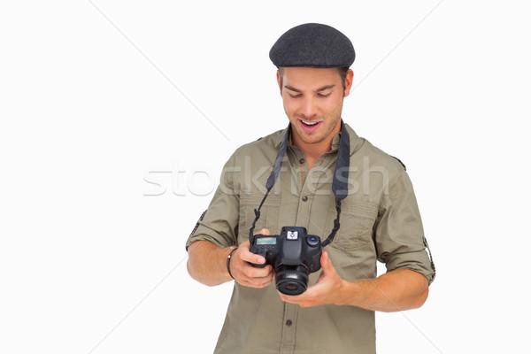 Mutlu adam kapak kamera beyaz Stok fotoğraf © wavebreak_media