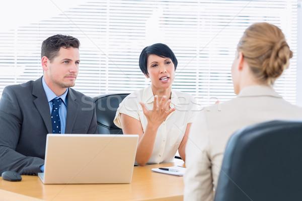 Jelölt állásinterjú iroda számítógép nő megbeszélés Stock fotó © wavebreak_media