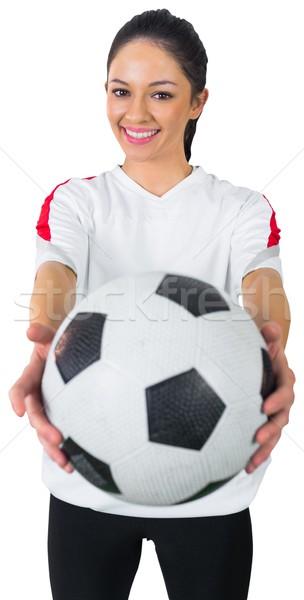 Dość piłka nożna fan biały uśmiechnięty piłka nożna Zdjęcia stock © wavebreak_media