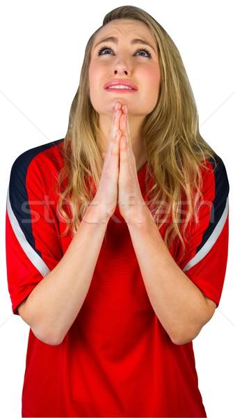 Nervioso fútbol ventilador rojo blanco fútbol Foto stock © wavebreak_media