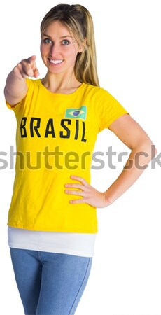 Pretty football fan in brasil tshirt Stock photo © wavebreak_media