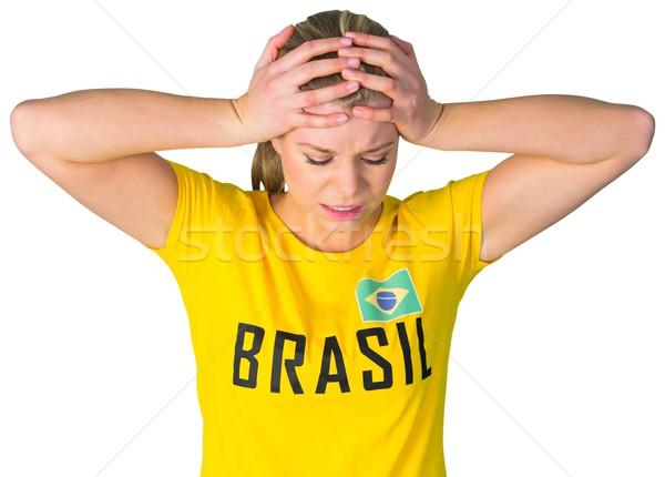 Сток-фото: разочарованный · футбола · вентилятор · футболки · белый