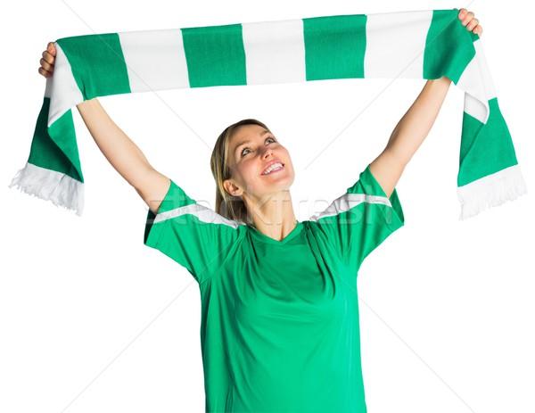 Juichen voetbal fan sjaal witte Stockfoto © wavebreak_media