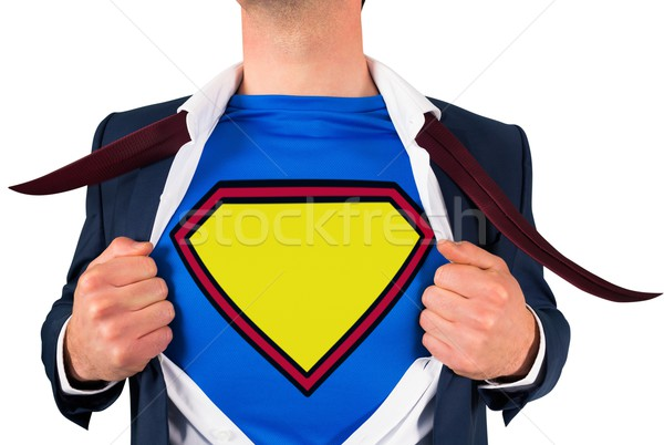 бизнесмен открытие рубашку superhero стиль белый Сток-фото © wavebreak_media