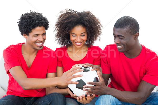 Foto stock: Futebol · fãs · vermelho · bola · juntos