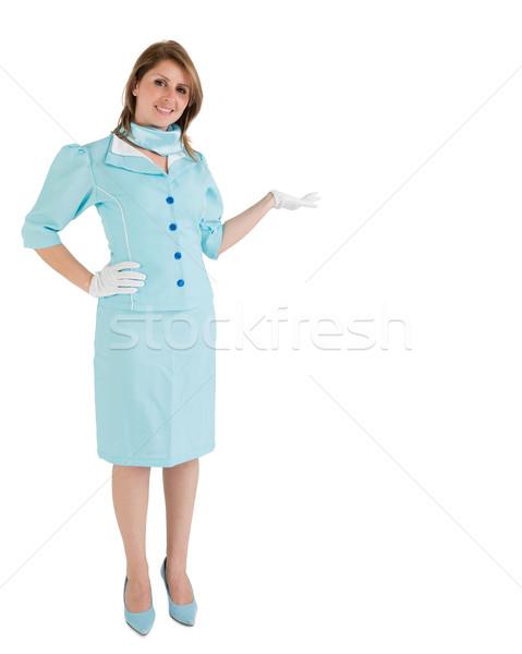Stewardess blau einheitliche Produkt weiß Stock foto © wavebreak_media